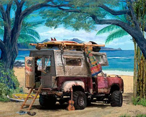 Dodge-Pickup-Truck-Camper-Art-Print-Poster